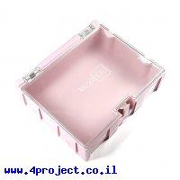 """קופסה מודולרית לאחסון רכיבים - 75x63x21.5 מ""""מ - ורוד"""
